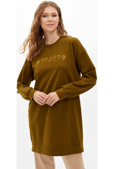 Defacto Kadın Baskılı Şerit Detaylı Uzun Kollu Tunik