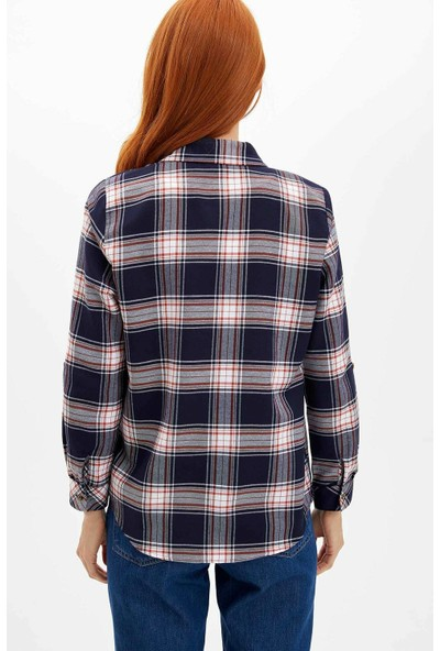 Defacto Kadın Tek Cepli Uzun Kollu Gömlek
