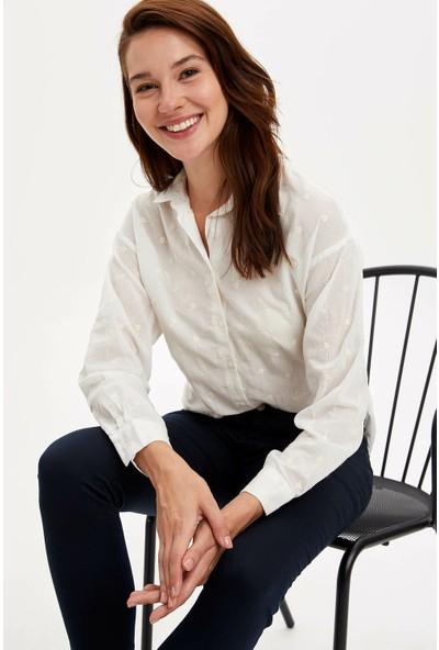 Defacto Kadın Puantiyeli Uzun Kollu Gömlek