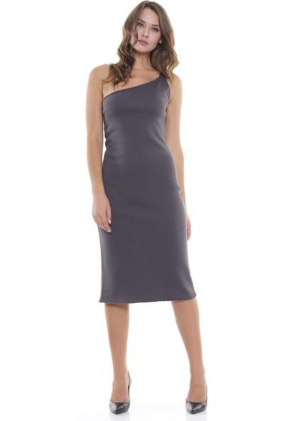 Efgima Kadın Tek Omuz Diz Altı Triko Elbise