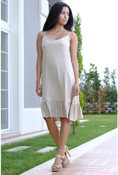 Efgima Kadın Askılı Etek Ucu Fırfırlı Elbise