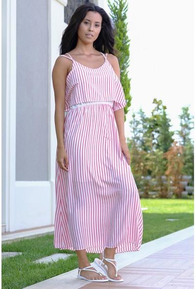 Efgima Kadın Askılı Çizgili Elbise