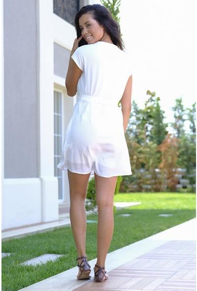 Efgima Kadın Önden Düğmeli Belden Bağlamalı Elbise