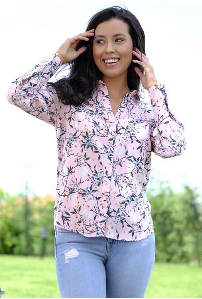 Efgima Kadın Yaprak Desenli Gömlek
