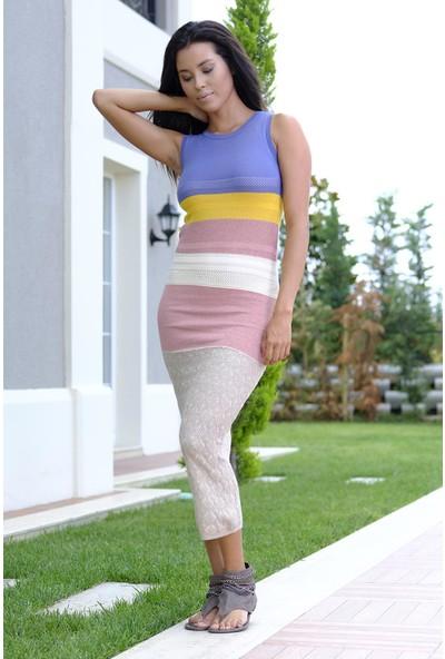 Efgima Kadın Triko Renkli Elbise