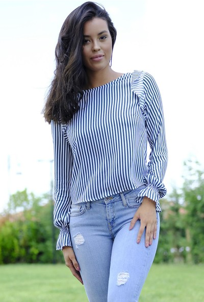 Efgima Kadın Omuzu Fırfırlı Çizgili Bluz