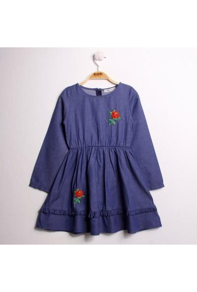 Toontoy Kız Çocuk Elbise Göğsü Gül Nakışlı - Mavi - 5 Yaş - 110Cm Boy