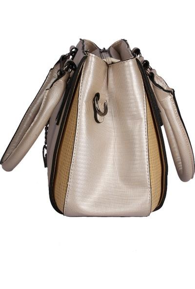 Harika Alışveriş H30 Krem El ve Omuz Askılı Kadın Çanta