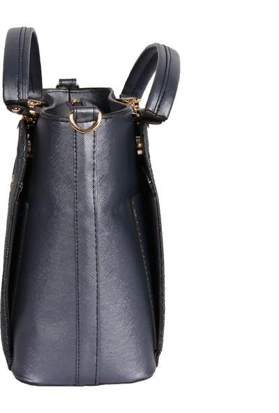 Harika Alışveriş H35 Lacivert El ve Omuz Askılı Kadın Çanta