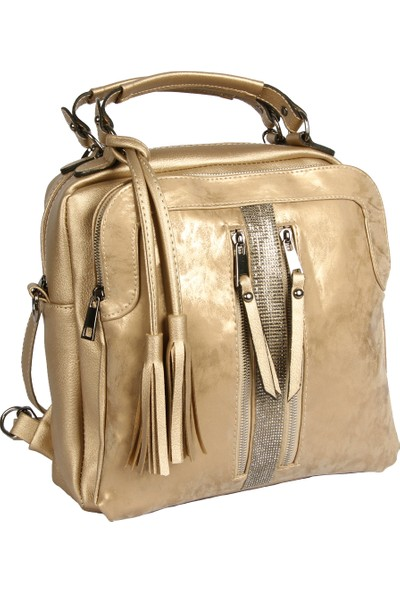 Harika Alışveriş H55 Gold El - Omuz ve Sırt Askılı Kadın Çanta