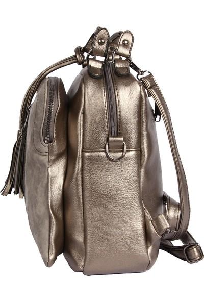 Harika Alışveriş H55 Platin El - Omuz ve Sırt Askılı Kadın Çanta
