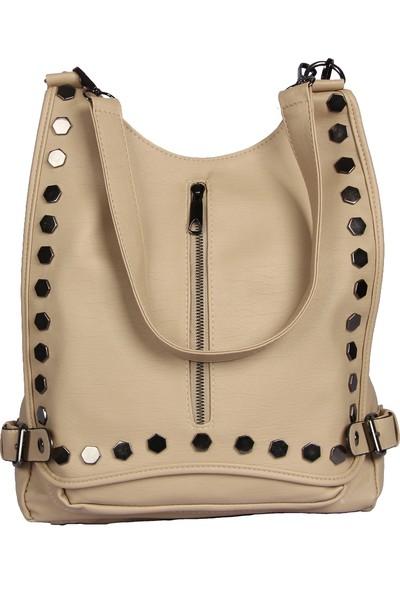 Harika Alışveriş H60 Krem El - Omuz ve Sırt Askılı Kadın Çanta