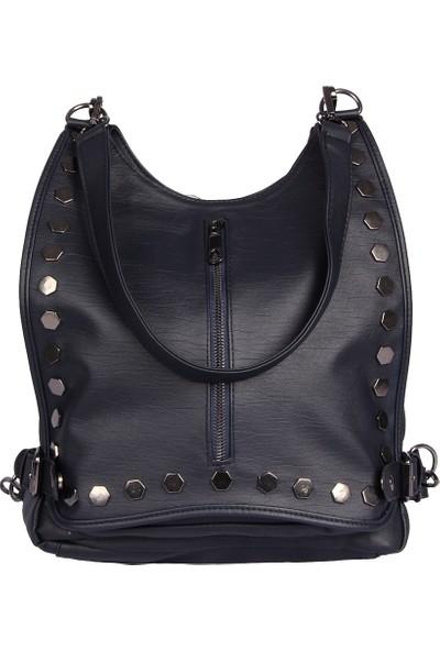 Harika Alışveriş H60 Lacivert El - Omuz ve Sırt Askılı Kadın Çanta