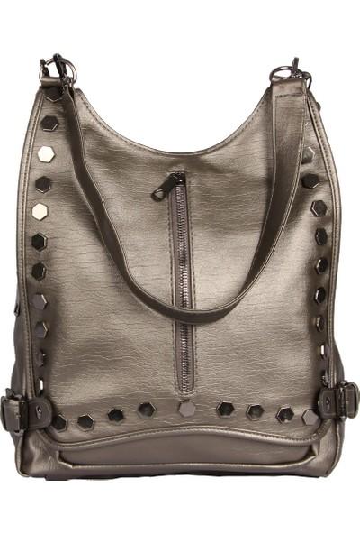 Harika Alışveriş H60 Platin El - Omuz ve Sırt Askılı Kadın Çanta