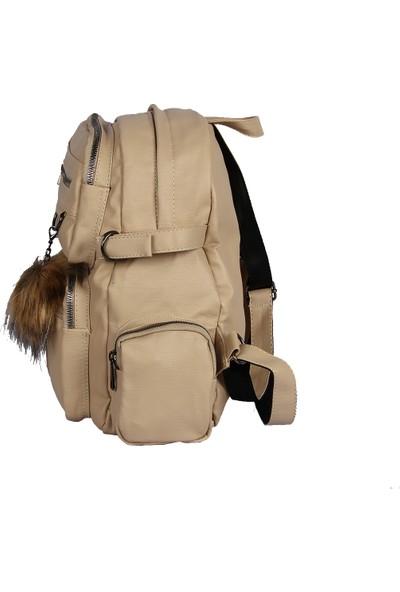 Harika Alışveriş H70 Krem El - Omuz ve Sırt Askılı Kadın Çanta