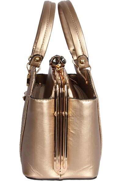 Harika Alışveriş H25 Gold El ve Omuz Askılı Kadın Çanta