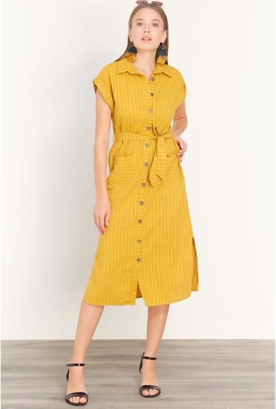 FullaModa Kadın Çizgili Düğmeli Elbise