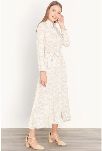 FullaModa Kadın Yaprak Desenli Elbise