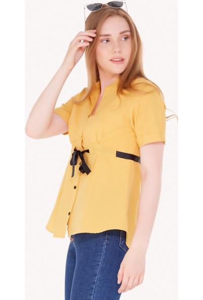 FullaModa Kadın Kuşaklı Gömlek