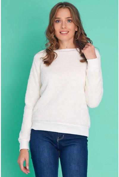 FullaModa Kadın Peluşlu Sweatshirt