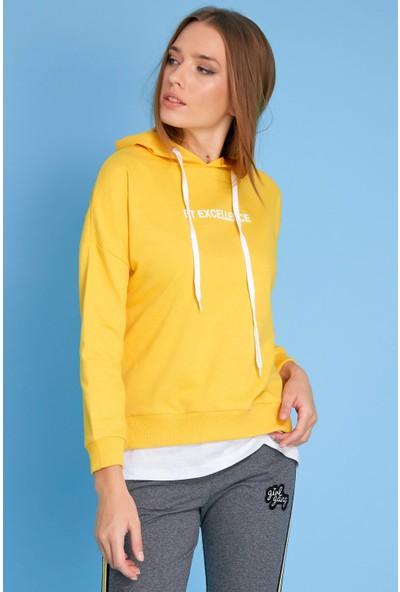 FullaModa Kadın Baskılı Sweatshirt