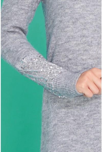 FullaModa Kadın Kolu Pullu Kazak
