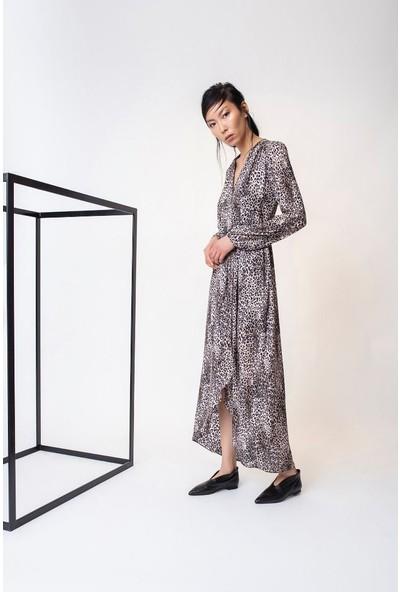 Rivus Anvelop Bağlamalı Leopar Desenli Uzun Elbise