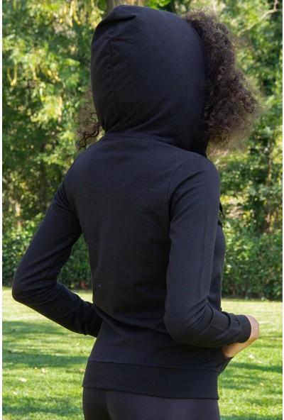 Morpile Kadın Kapüşonlu Fermuarlı Sweatshirt