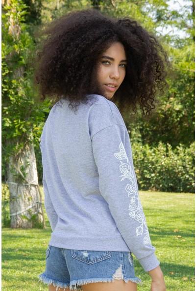 Morpile Kadın Kol Detaylı Sweatshirt