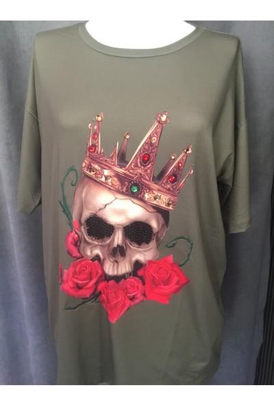 Lefon Kuru Kafa Baskılı Taşlı Gri T-Shirt
