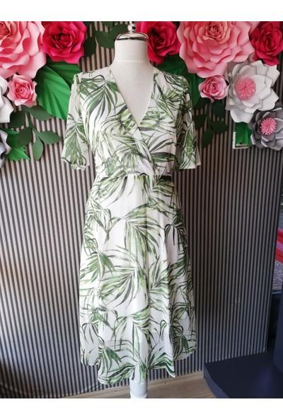 Sateen Yarım Kol Emprime Yaprak Desenli Elbise