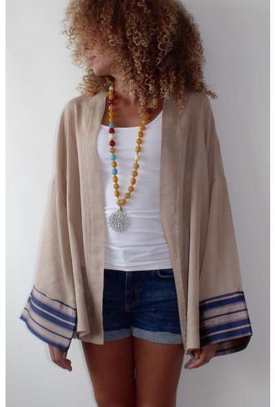 Tiera Styling Bej Kolları Ipek Kimono Tunik
