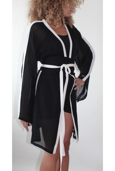 Tiera Styling Siyah Ekru Biyeli Kimono Tunik