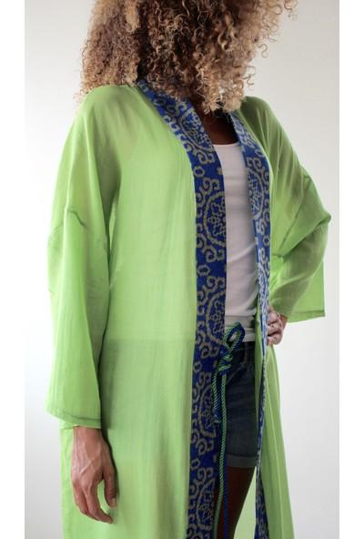 Tiera Styling Yeşil Uzun Kimono