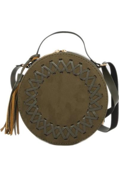Bagmori Haki Örgü Detaylı Davul Çanta