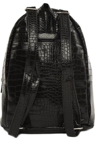 Bagmori Siyah Desenli Tasarım Sırt Çantası