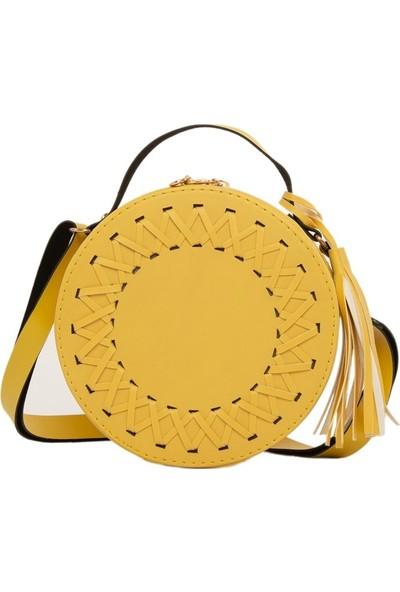 Bagmori Sarı Örgü Detaylı Davul Çanta