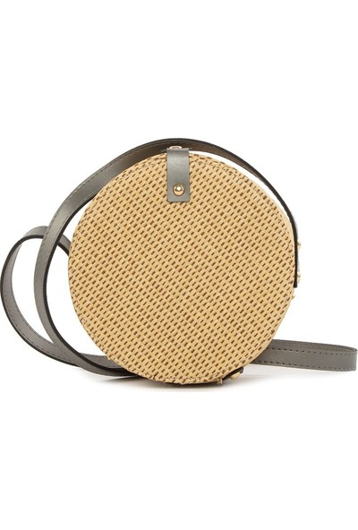 Bagmori Gümüş Renkli Askılı Hasır Çanta