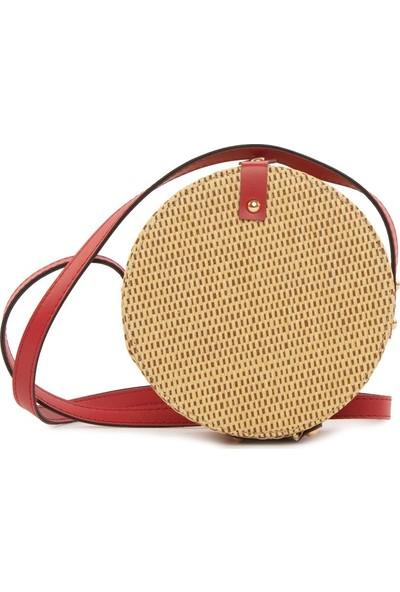 Bagmori Kırmızı Renkli Askılı Hasır Çanta