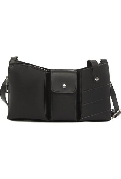 Bagmori Siyah Üç Gözlü Çapraz Askılı Çanta