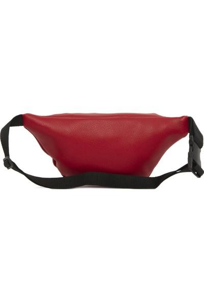 Bagmori Kırmızı Oval Cepli Kolonlu Bel Çantası