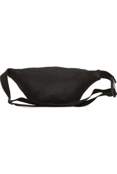 Bagmori Siyah Oval Cepli Kolonlu Saten Bel Çantası