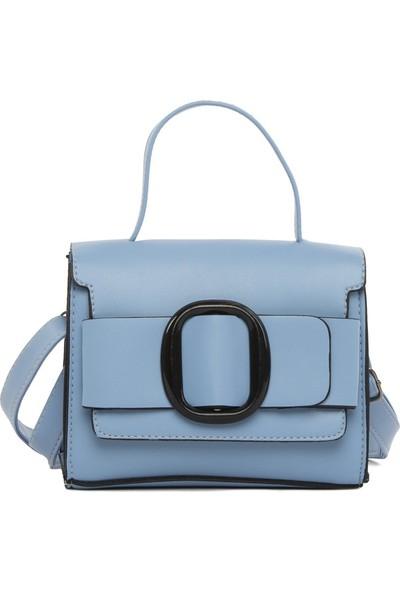 Bagmori Mavi Mini Toka Detaylı Askılı Çanta