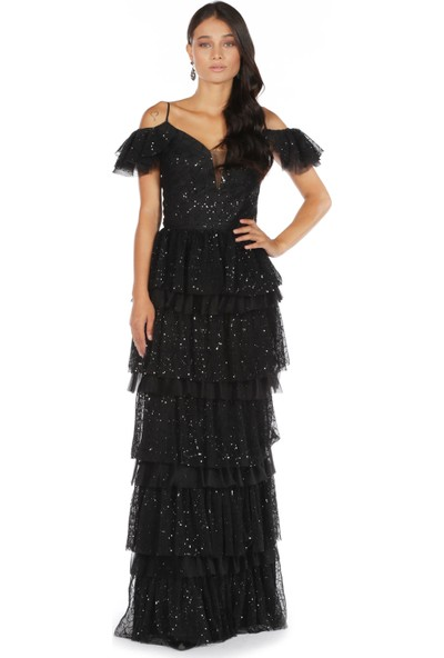 Carmen Siyah Simli Piliseli Uzun Abiye Elbise