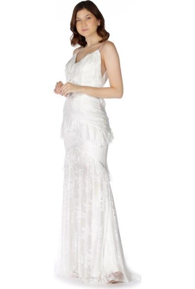 Carmen Ekru Dantelli Eteği Fırfırlı Abiye Elbise