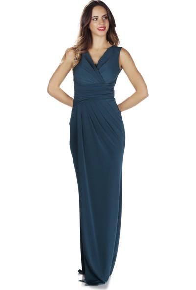 Pierre Cardin Indigo Sandy Yırtmaçlı Uzun Abiye Elbise
