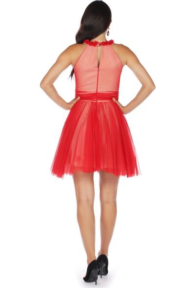 Carmen Kırmızı Tüllü Çiçekli Kısa Abiye Elbise