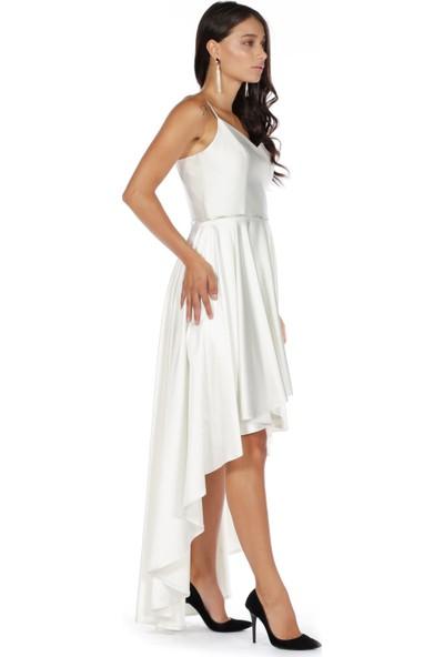 Carmen Ekru İp Askılı Saten Kısa Abiye Elbise