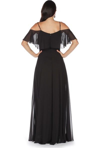 6Ixty8Ight Siyah Düşük Kollu Askılı Uzun Abiye Elbise