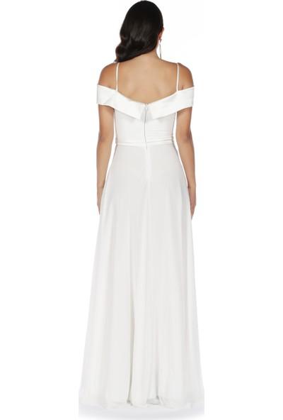 Carmen Ekru Prenses Yaka Uzun Abiye Elbise